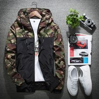 Wholesale Pocket Parts - Men's Jackets Part Camouflage Pattern Contrast Color Hooded Waterproof Zipper Rib Long Sleeve Windproof Jacket Slim Fit For Man Free Ship