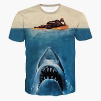 Wholesale Comics Women - Drop Ship Newest Jaws Deadpool t shirts Women Men Summer Hipster 3D t shirt tee American Comic Badass Deadpool T-Shirt Tees Tops