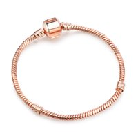 Wholesale Copper Clasps Jewelry Making - New Arrival Authentic Rose Gold Plated & Silver Snake Chain Bracelets DIY Bracelet Jewelry 17CM-21CM Luxury Jewelry Making DIY LZ19