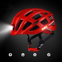 Wholesale Mountain Bike Women Helmets - ROCKBROS Cycling Helmet Bike Ultralight Helmet With Light Intergrally-molded Mountain Road Bicycle Helmet Safe Men Women 57-62cm
