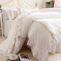 Wholesale Romantic Bedspreads - Wholesale- New ruffle emboridery luxury bedding set elegant brief bedding matching duvet cover bedspread romantic princess bed skirt sheet