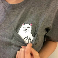 Wholesale Cat Lady T Shirt - Wholesale- Harajuku Summer T-shirt Women Casual Lady Top Tees Cotton Tshirt Female Brand Clothing T Shirt Printed Pocket Cat Top Cute Tee