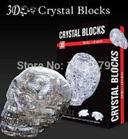 Wholesale Clear 3d Puzzles - Wholesale- 2016 New Creative 3D Crystal Puzzle DIY puzzle Skull Toys Clear and Gray For Kids For Fun Without Original Package