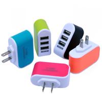 muelle de carga del teléfono móvil al por mayor-US EU Plug 3 USB Ports Cargadores de pared 5V 3.1A LED Travel Adaptador de corriente Cargador Dock Charge para teléfono móvil ON5 Note7