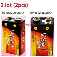 Wholesale 6f22 Batteries - 2pcs 1 lot 9V6F22 9V 6F22 250mAh 380mAh Rechargeable Ni-Mh Battery 9 Volt Batteries VSAI Free Shipping