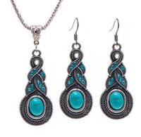 Wholesale free necklace patterns - Earrings Bohemian Jewelry Set Retro Pattern Blue Crystal Jewelry Turquoise Necklace Earrings jewelry set female free shipong whoelsale