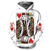 Wholesale Newest Style Mens Hoodies - Newest Fashion Womens Mens Hoodie 3D Graphic Poker King Sweatshirts Hip Hop Style Hooded Tracksuit Fashion Pullover LMS05