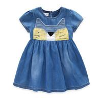 Wholesale Demin Shorts Kids - Girls Denim Dress 2017 New Summer Children Clothing Cat Patchwork Appliques Demin Dress Casual Kids Clothes