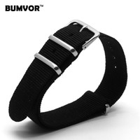 Wholesale Nylon Watch Band Strapping Wholesale - Wholesale- Wholesale 20 mm Retro Black Army Sports Nato Woven Fiber watchband 20mm Nylon Watches Strap Wristwatch Band Buckle fabric