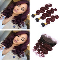 Wholesale Red Two Tone Hair Weaves - Dark Root Ombre 1B 99J Burgundy Two Tone Human Hair Weft Bundles With Full Frontals Wine Red Ombre Hair Weaves With Frontal Closure