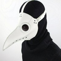 Wholesale Steampunk Costume Accessories - Black PU Leather Retro Rock Long Beak Bird Plague Doctor Cosplay Steampunk Mask And Goggles Halloween Costume Gothic Accessories 222