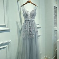 Wholesale Soft V Neck - 2018 Cheap Real Silvery Prom Dresses V Neck Sleeveless A Line Floor Length Appliques Lace With beaded Soft Tulle Evening Graduation Dresses
