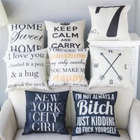 Wholesale Chair Covers Linens - Pillow Covers Cushions Cover Printed Alphabet Letter Linen Fashion Office Sofa Chair Home Textiles Cushions Pillowcase Without Pillow Core