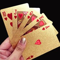 Durable Waterproof Plastic Playing Cards Gold Foil <b>Golden Poker Cards</b> 24K Gold-Foil Plated Playing Cards Poker Jogos de mesa Frete grátis