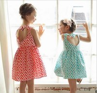 Wholesale Korean Fashion Wholesale Childrens Clothes - 2017 Baby Girls Print Floral Dresses Kids Girls Fashion Backless Dress Babies Summer Korean Clothing childrens Clothes