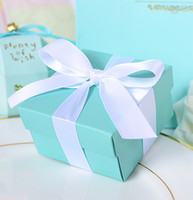 Wholesale Wholesale Ivory Card Paper - Blue Wedding Favor Candy Box with Ivory Ribbon Pretty Mint Engagement Ring Proposal Case Necklace Trinket Jewelry Box