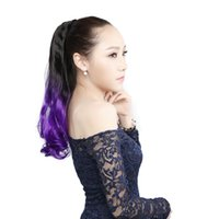 1pc Purple # Clip droit en queue de cheval Long extensions de cheveux synthétiques Pièces de cheveux synthétiques Ponytails Extensions ondulées Curly Highlight