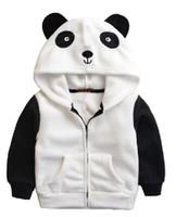 Wholesale Child Panda Jacket - Wholesale- Autumn and Winter Europe Lovely Polar Fleece Embroidery Coat Cartoon Panda Children Jacket Zipper Hooded Boys Girls Outwear
