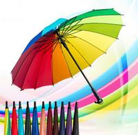 points de couleur en plastique achat en gros de-Arc-en-parapluie 16 longue tige en os arc-en-ciel parapluie Couleur pure tiges parasol chiffon pluie cadeau parapluie éclairage grève cadeau 50pcs