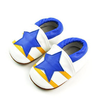 Wholesale Customized Baby Shoes - 2015 New arrival handmade Genuine Leather customized big blue Star Pattern Korean Style anti-slip Baby Shoes
