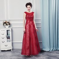 Wholesale Donna Brown - Special Occasion Prom Dresses Abito Lungo Cerimonia Donna 2017 Sleeveless Burgundy Lace Women Evening Dresses Long Party Gowns