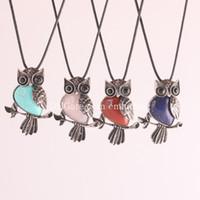 ingrosso pelle di spirito-New Lovely Ametista Gemstone Owl On Branch Collana Gufo spirito animale con perline in pietra naturale ciondolo in pelle collana donne gioielli