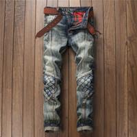 Wholesale Restore Patterned - Original Design New Pattern Restore Ancient Ways Split Joint Fashion Personality Tide Male Holes Patch Jeans Nightclub Men's Wear Pants