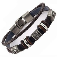Wholesale Deep Bezel - Wholesale-Vintage Beads Charms Deep Brown Leather Braided Bracelet For Women Men Charm Man Jewelry Bracelets & Bangles Wholesales MJB006