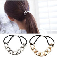 Wholesale Elastic Headband Hair Rope - 2016 Korean Punk hair bands Gold Silver Plated Woman Elastic Hair Band Rope Ties Metal Ponytail Holder Girls Hair Accessories