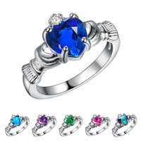 Wholesale Wholesale Bezel Set Cz - 925 sterling silver Ring fashion jewelry Multicolor heart crown ring CZ female wedding rings rainbow Love gift rings for w