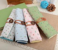 Wholesale Korean Style Curtains - Direct selling Korean small fresh pastoral style floral pen bag curly curtain stationery pen Free Delivery
