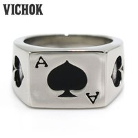 Wholesale Quality Spade - 316 L Stainless Steel ring Poker Black Spades Ace Design Finger Ring top fashion band rings high quality mix cheap wholesale VICHOK
