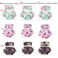 conjunto de pañales recién nacidos al por mayor-Comercio al por mayor de punto Floral de algodón para bebés Bloomer Set Green Ruffle Newborn Diaper Cover juego de diadema a juego 2pcs Baby Shorties