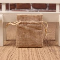 Wholesale small burlap drawstring bags resale online - small Plain linen jute Burlap Drawstring Bags soap rings Earrings Brooch jewelry Wedding Favor gift package pouches cm