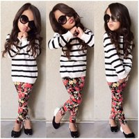 Wholesale Top Fashion Outfits For Kids - Girls fashion Flower suits Striped top Floral Legging pants 2pc sets for 2-7T kids Miniature Adult outfits