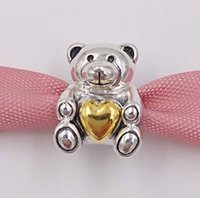 Wholesale teddy bear christmas gift for sale - 925 Sterling Silver Beads Mother S Day Teddy Bear Charm Fits European Pandora Style Jewelry Bracelets Necklace Mothers day gift