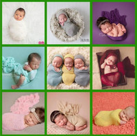Wholesale Wholesale Knit Stretch Scarf - Baby Photography Props Wrap Swaddle 25 color Newborn Stretch Knit Wrap Blanket Parisarc Bedding Sleepsacks Scarves Newborn Photo Props A 080