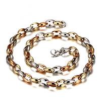 collar de 56cm al por mayor-Meaeguet 56 cm de largo cadena de collares de acero inoxidable para hombres granos de café en forma declaración collares hombres joyería NC-065