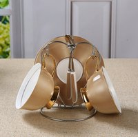 Wholesale European Tea Sets - 2pc set The golden spiral bone china coffee cup dish European coffee set in the afternoon tea gift
