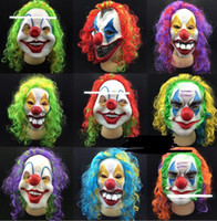 Wholesale Evil Cosplay Costume - Scary Clown Mask Adult Halloween Evil Killer Fancy Dress Horror Jolly Latex Hair Full Face Masks Party Costume Cosplay Accessory