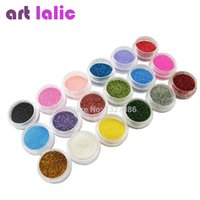 Wholesale Nail Tip Glitter Colors - Wholesale-18 Colors Nail Art Glitter Powder Dust For UV GEL Acrylic Powder Decoration Tips