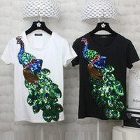 Wholesale T Shirt Donna Fashion - Donna S-4XL Plus Size Women Fashion T Shirt Sequined Peacock Embroidery Short Sleeve Summer Casual Tee shirt Black White