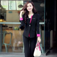 Wholesale Slim Fit Work Suit - New Fashion Slim Fit Lady Career Suits Women Work Clothes Business Suits Women's Two Piece Pants blazer For Girls