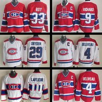 Wholesale Maurice White - Montreal Canadiens Hockey jersey #4 Jean Beliveau #9 Maurice Richard 10 Guy Lafleur 29 Ken Dryden 33 PATRICK ROY CCM Stitched Jerseys