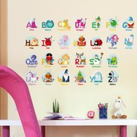 Wholesale Educational Wall Stickers - Wall Sticker Fun Educational Alphabet With Cartoon Animals For Kid Room Decor English Words Decal Learn Puzzle Stickers 3 1zx F R