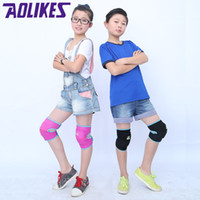 Atacado - Aolikes Kids Thicken Sponge Leg Warmers Sports Anti-drop hit Knee Pads For Dance Kinesiologia kneepad Fitness Acessórios Ginásio