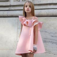 Wholesale Wholesale One Shoulder Lace Dress - Big kids dress girls one shoulder pink princess dress children big falbala bowknot lace-up A-line dress 2017 summer fashion clothes T2099