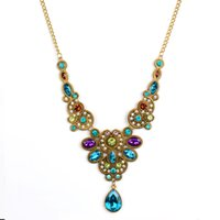 Cheap Fashion Long Collier en cristal bleu pour les femmes Vintage Gold Color Statement Colliers Pendentifs Indian Choker Colar Jewelry