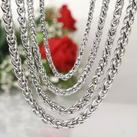 Wholesale Silver Curb Chain 4mm - 4mm 5mm 6mm 8mm silver color men's necklace six flat curb buban stainless steel chain jewelry for party gift cool punk man jewelry