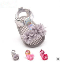 Wholesale Gauze Flower Wrapping - Newborn Tulle Flower Baby Shoes Sandals 2017 Princess Baby Gauze Flower Shoes Girls Shoes Toddler Prewalker Baby First Walker Sandals 355